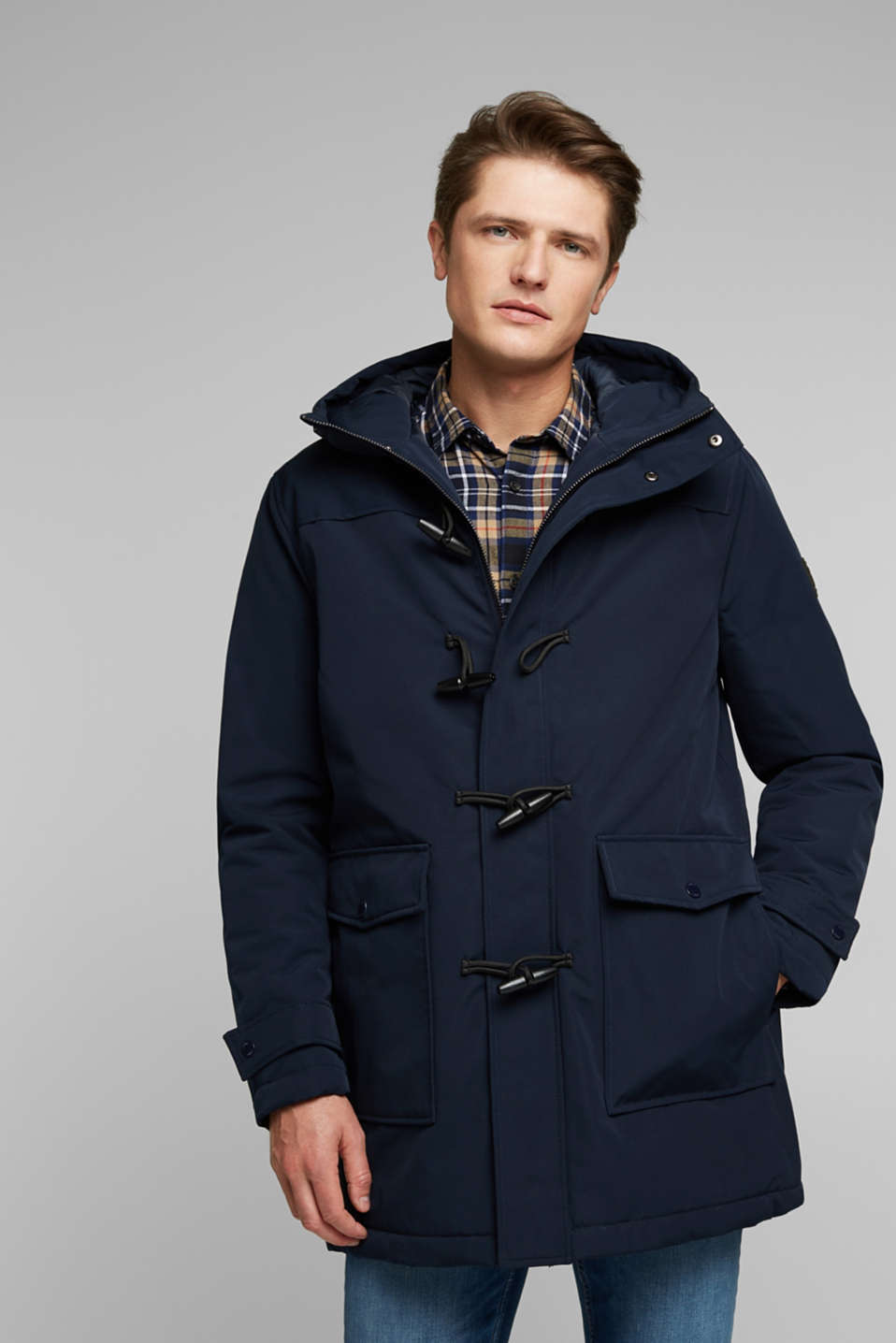 Esprit - Genanvendte materialer: jakke i duffelcoat-stil, 3M™ Thinsulate™