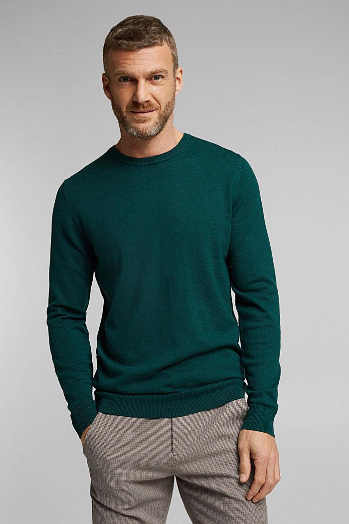 Cashmere blend: crewneck jumper, BOTTLE GREEN, detail image number 0