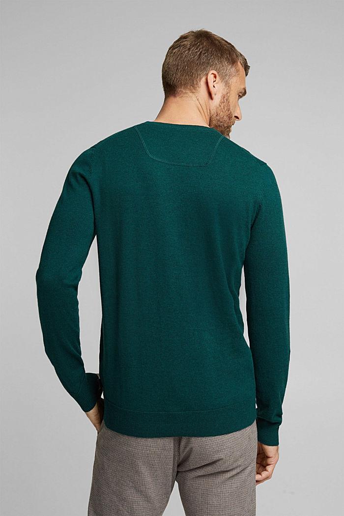 Cashmere blend: crewneck jumper, BOTTLE GREEN, detail image number 3