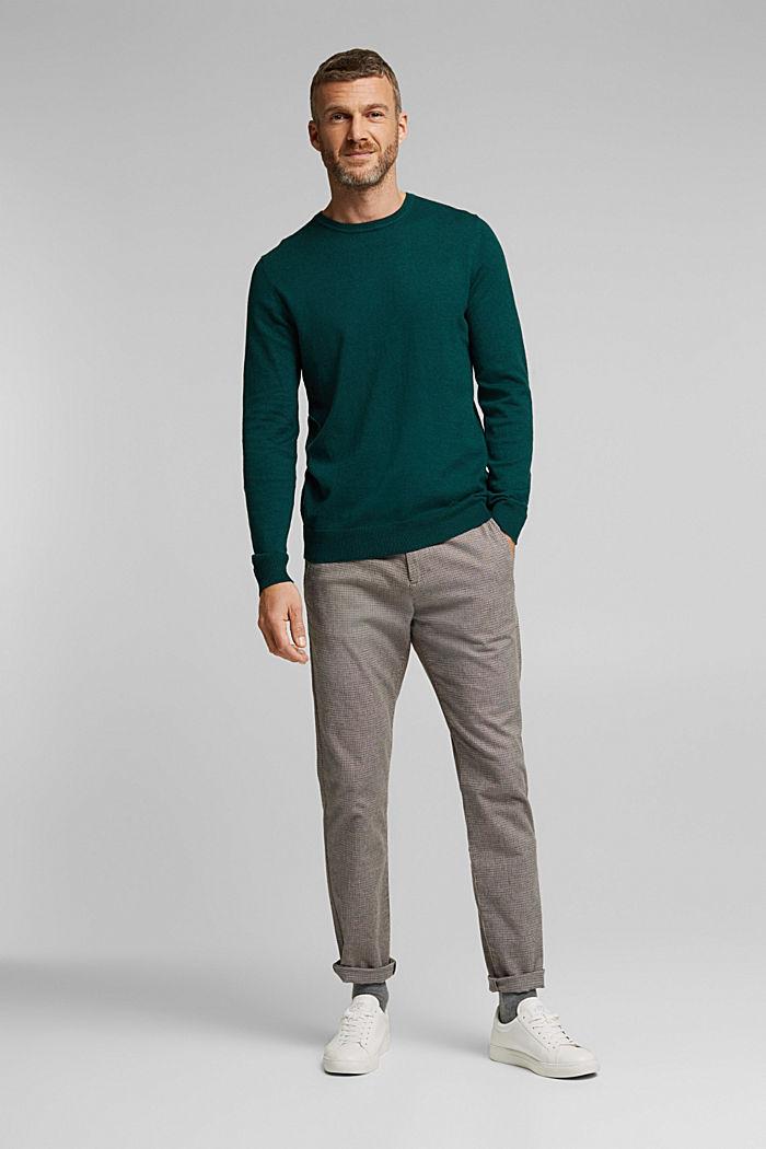 Cashmere blend: crewneck jumper, BOTTLE GREEN, detail image number 1