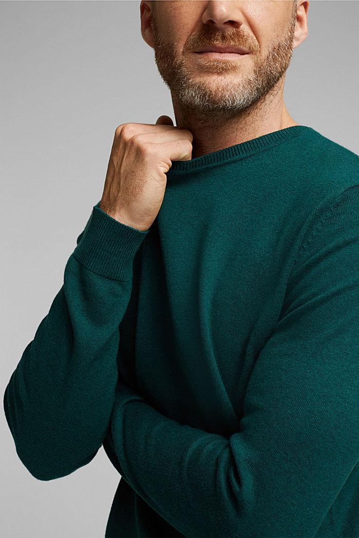 Cashmere blend: crewneck jumper, BOTTLE GREEN, detail image number 2