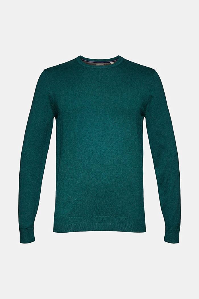 Cashmere blend: crewneck jumper, BOTTLE GREEN, detail image number 5