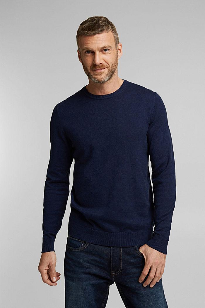 Cashmere blend: crewneck jumper, INK, detail image number 0