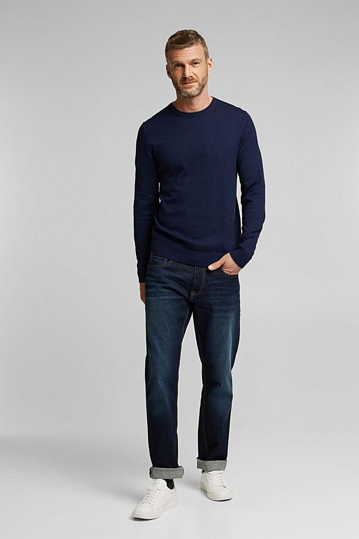 Cashmere blend: crewneck jumper, INK, detail image number 5