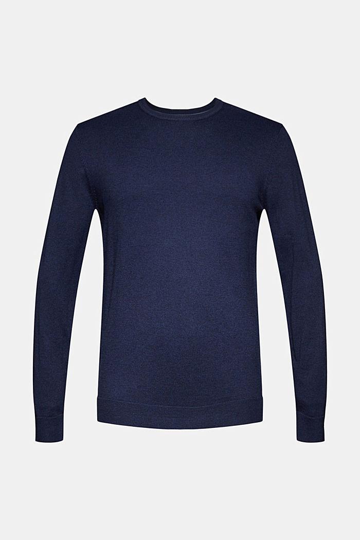 Cashmere blend: crewneck jumper, INK, detail image number 6