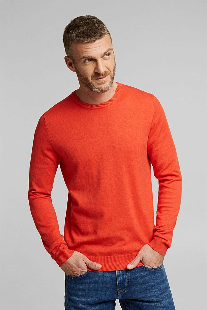 Cashmere blend: crewneck jumper, BURNT ORANGE, detail image number 0