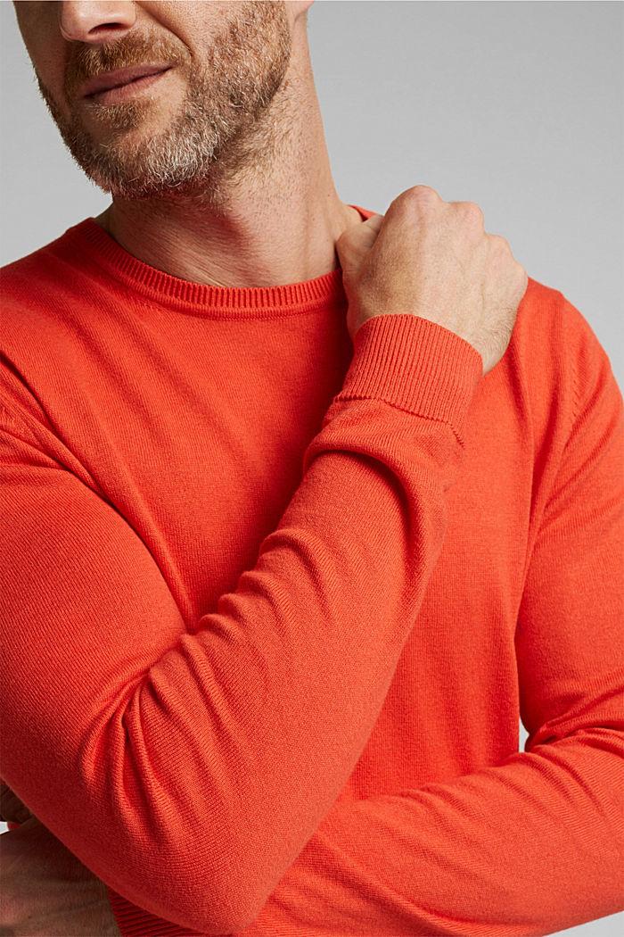 Cashmere blend: crewneck jumper, BURNT ORANGE, detail image number 2