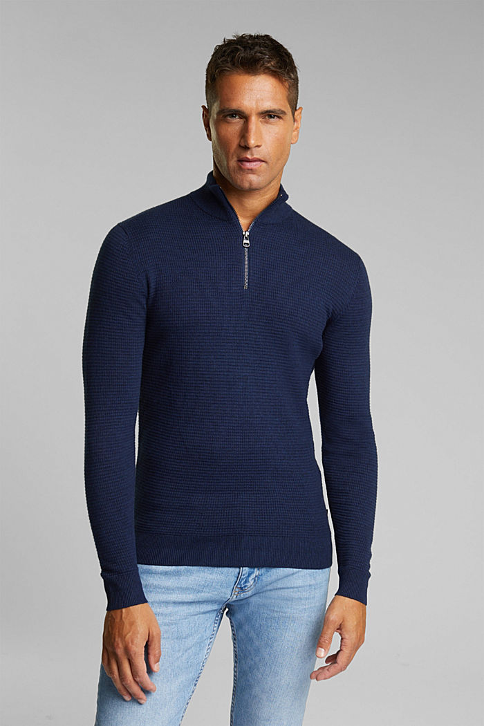 Cashmere blend: Zip-neck jumper with organic cotton, INK, detail image number 0