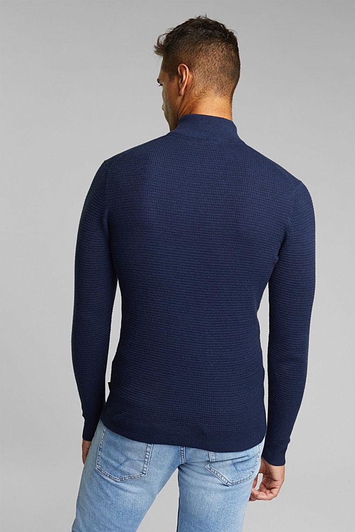 Cashmere blend: Zip-neck jumper with organic cotton, INK, detail image number 3