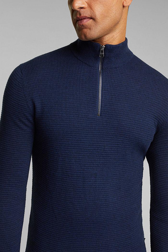 Cashmere blend: Zip-neck jumper with organic cotton, INK, detail image number 2
