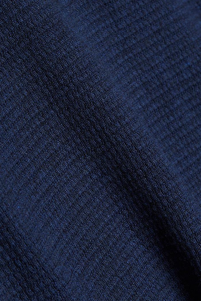 Cashmere blend: Zip-neck jumper with organic cotton, INK, detail image number 4