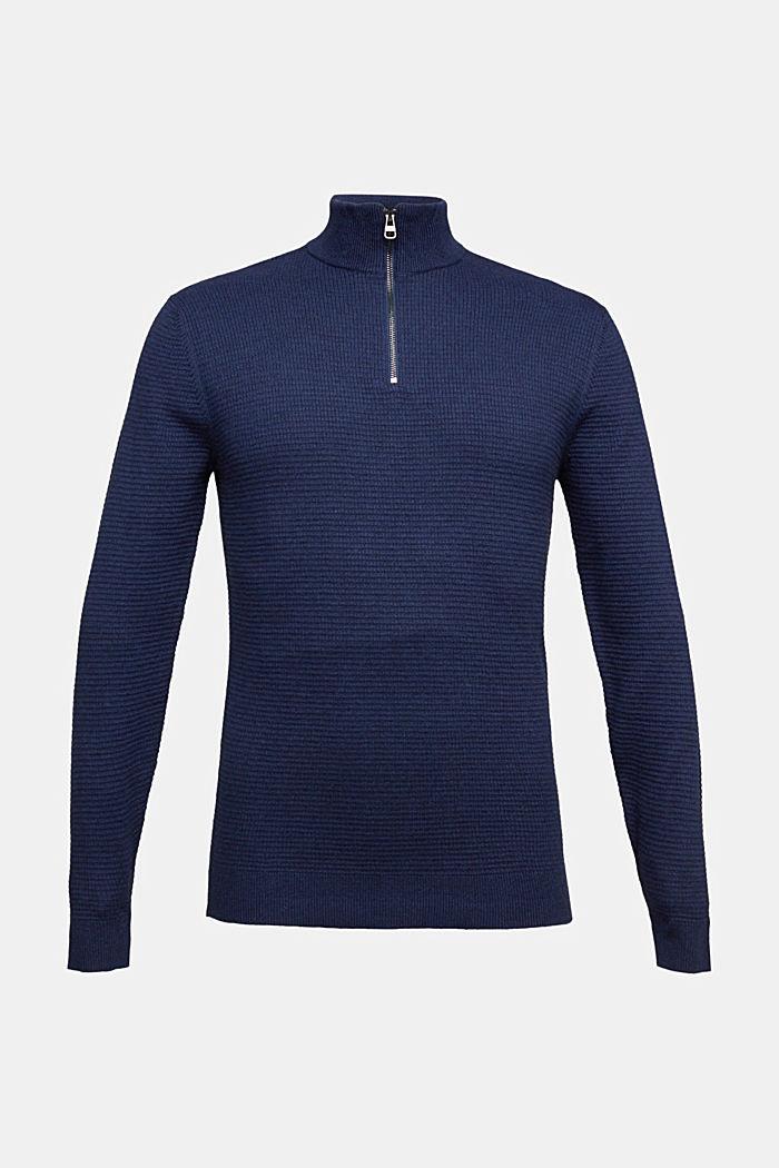 Cashmere blend: Zip-neck jumper with organic cotton, INK, detail image number 5