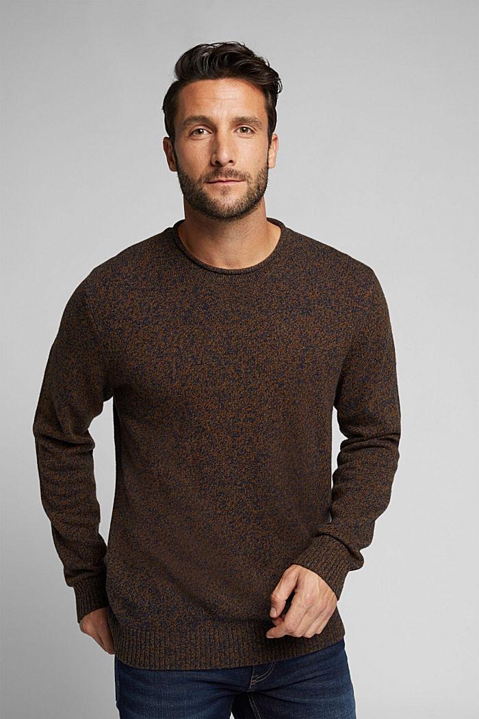Melange jumper in blended recycled wool, BARK, detail image number 0