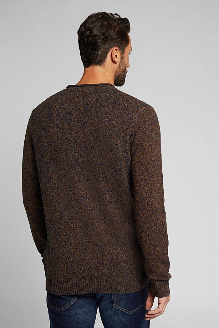 Melange jumper in blended recycled wool, BARK, detail image number 3