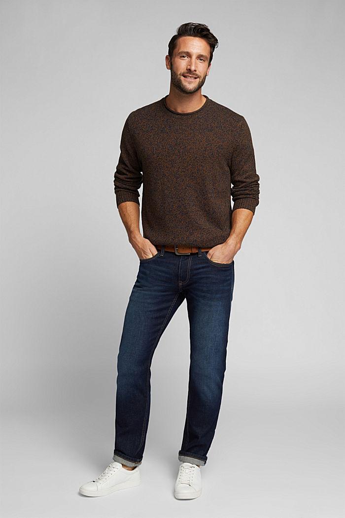 Melange jumper in blended recycled wool, BARK, detail image number 1
