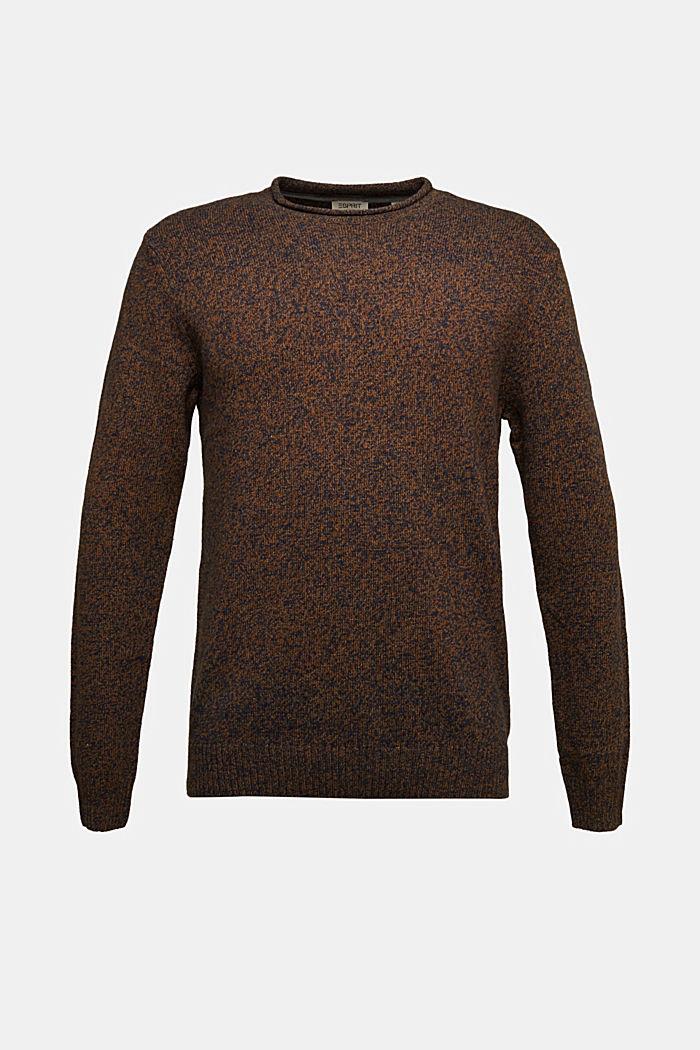 Melange jumper in blended recycled wool, BARK, detail image number 6