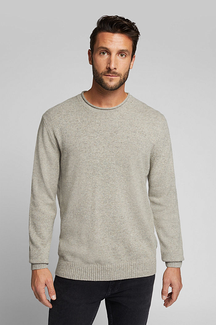 Recycelter Woll-Mix: melierter Pullover, LIGHT BEIGE, detail image number 0