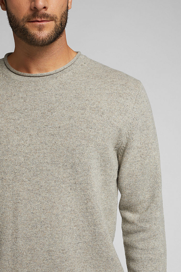 Recycelter Woll-Mix: melierter Pullover, LIGHT BEIGE, detail image number 2