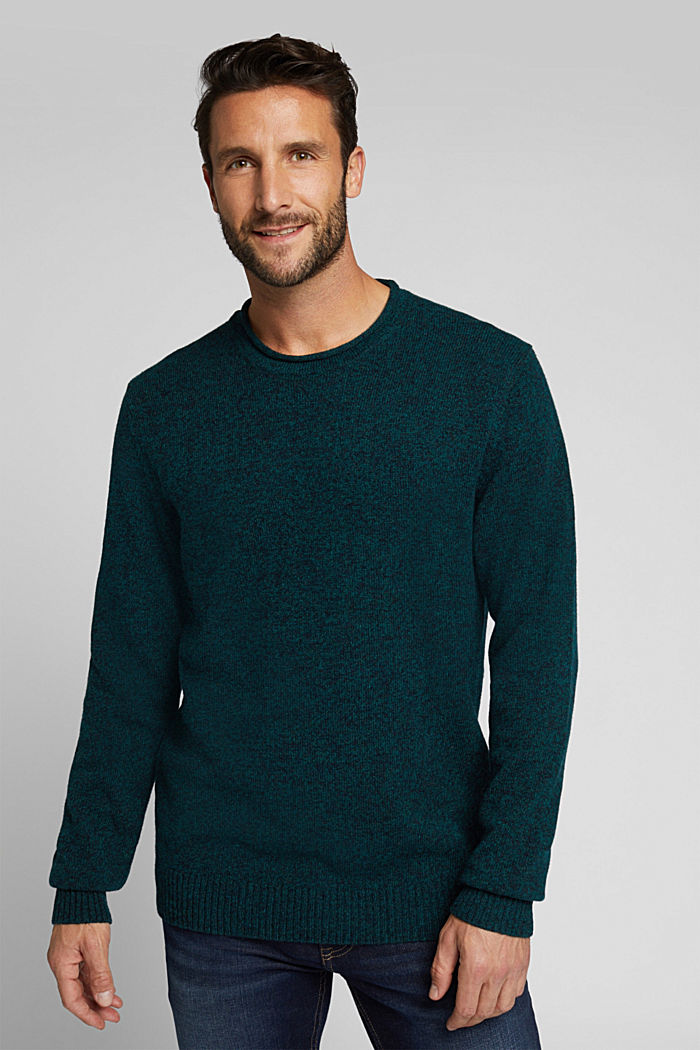 Recycelter Woll-Mix: melierter Pullover, BOTTLE GREEN, detail image number 0