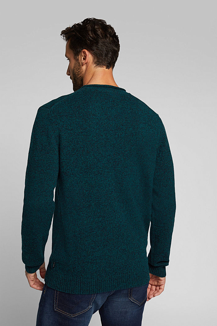 Recycelter Woll-Mix: melierter Pullover, BOTTLE GREEN, detail image number 3