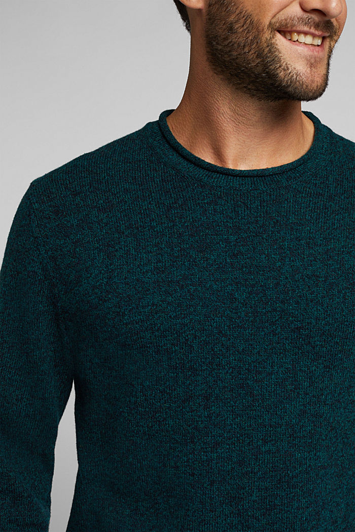 Recycelter Woll-Mix: melierter Pullover, BOTTLE GREEN, detail image number 2