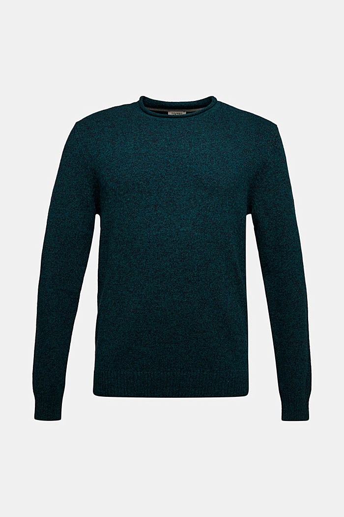Recycelter Woll-Mix: melierter Pullover, BOTTLE GREEN, detail image number 5