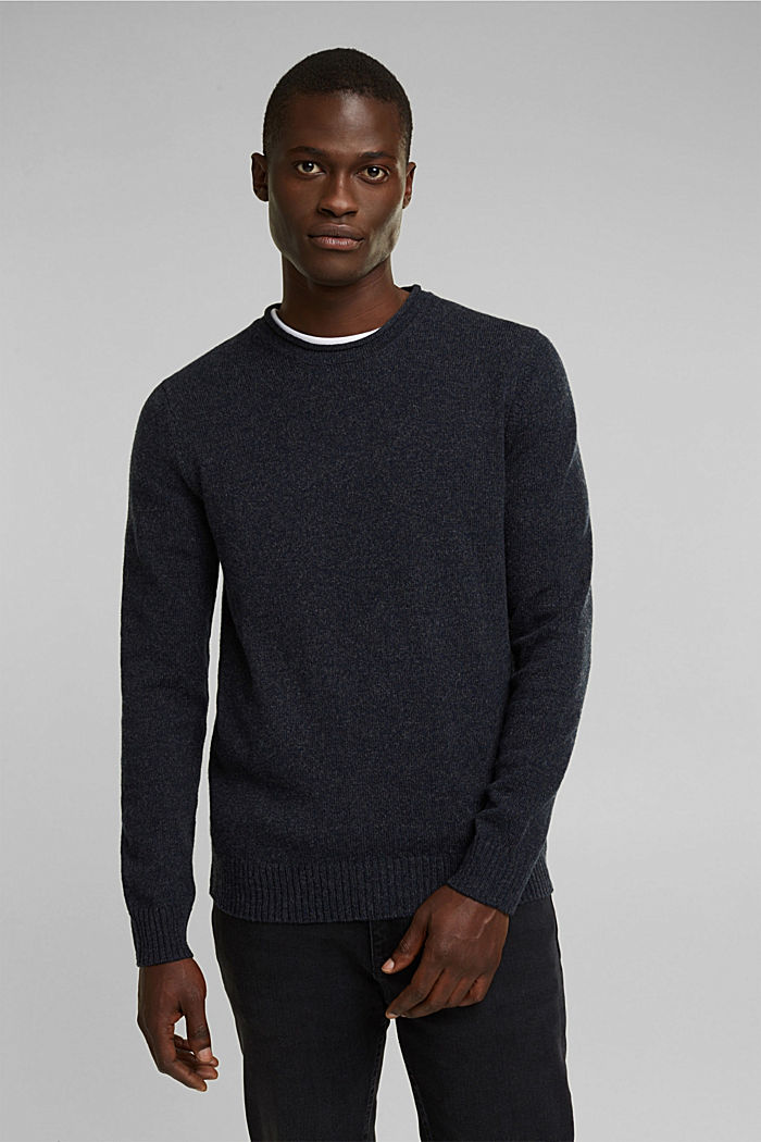 Recycelter Woll-Mix: melierter Pullover, NAVY, detail image number 0