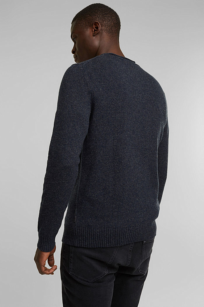 Recycelter Woll-Mix: melierter Pullover, NAVY, detail image number 3