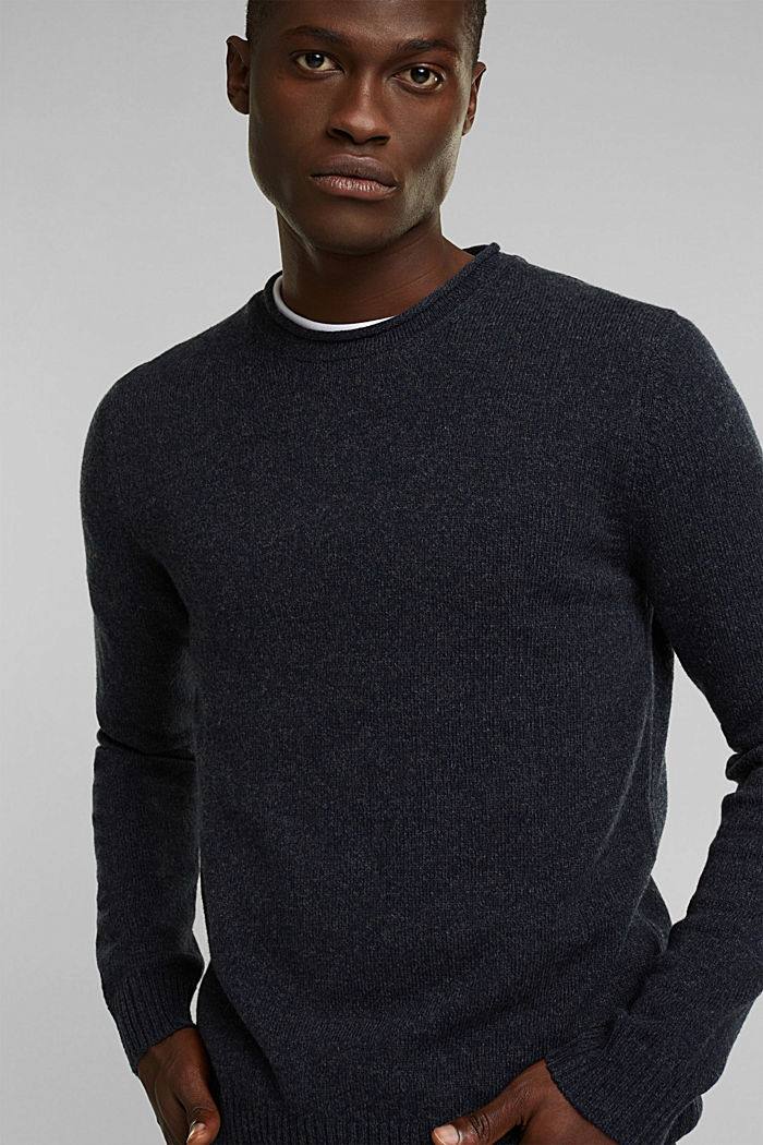 Recycelter Woll-Mix: melierter Pullover, NAVY, detail image number 6