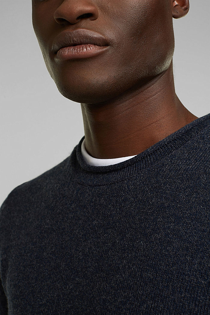 Recycelter Woll-Mix: melierter Pullover, NAVY, detail image number 2