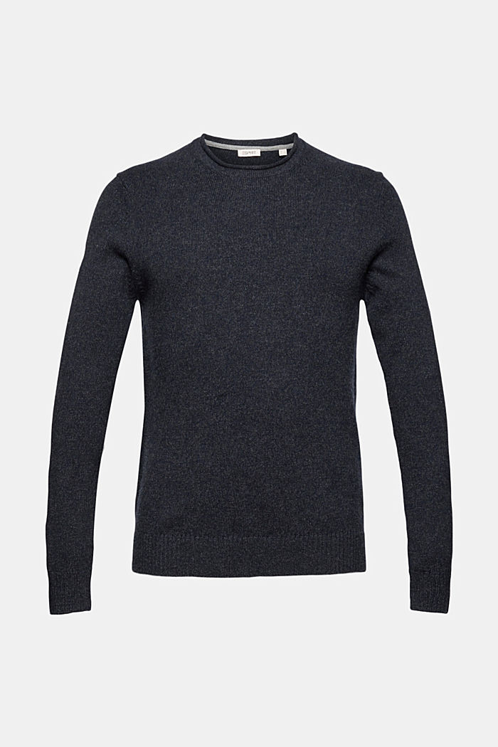Recycelter Woll-Mix: melierter Pullover, NAVY, detail image number 5