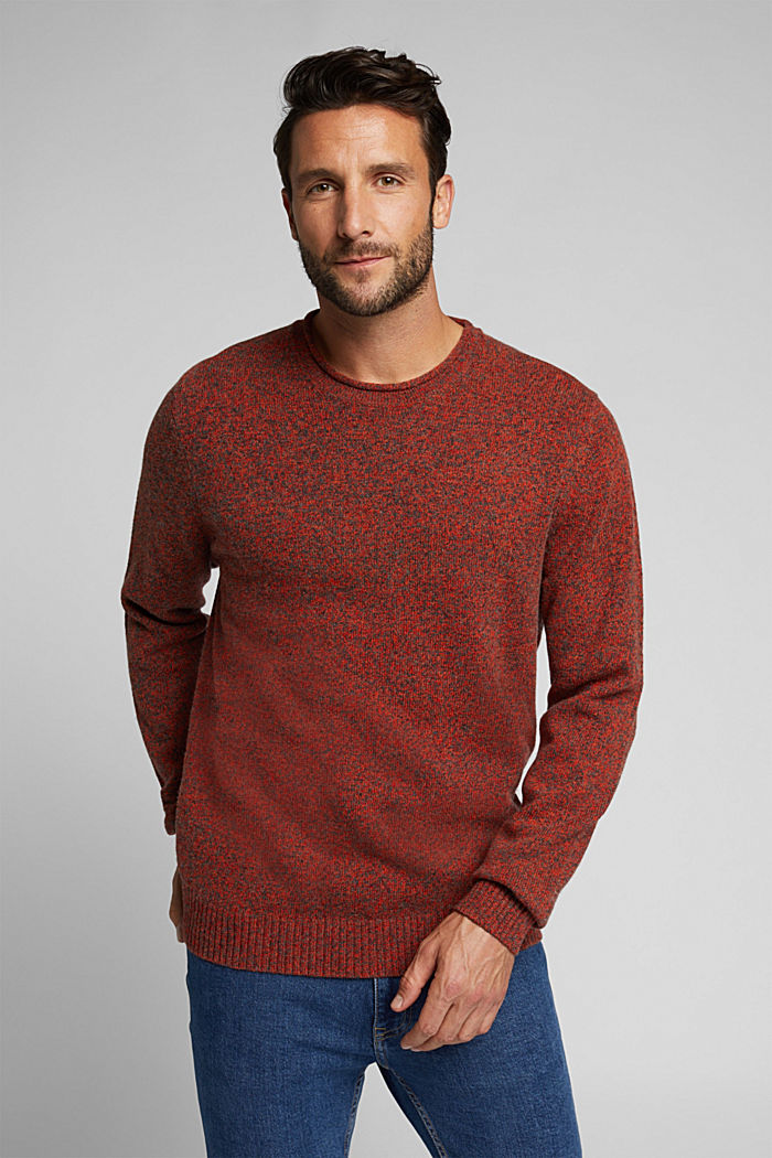 Recycelter Woll-Mix: melierter Pullover, BURNT ORANGE, detail image number 0