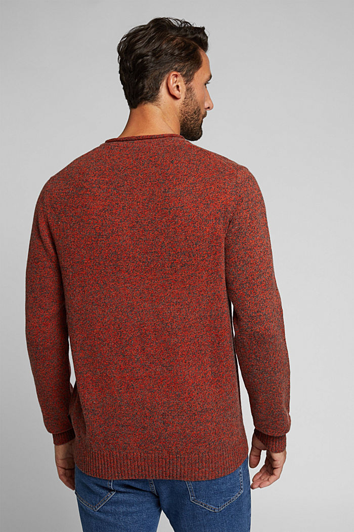 Recycelter Woll-Mix: melierter Pullover, BURNT ORANGE, detail image number 3