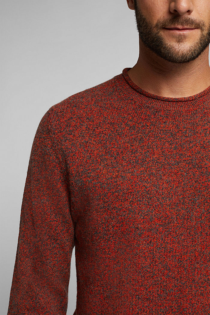 Recycelter Woll-Mix: melierter Pullover, BURNT ORANGE, detail image number 2