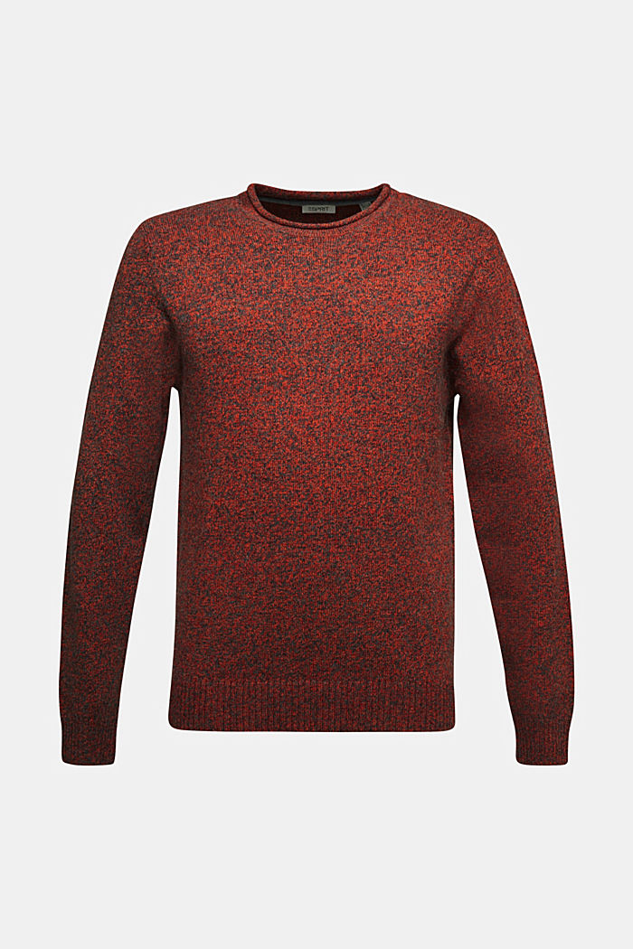 Recycelter Woll-Mix: melierter Pullover, BURNT ORANGE, detail image number 5