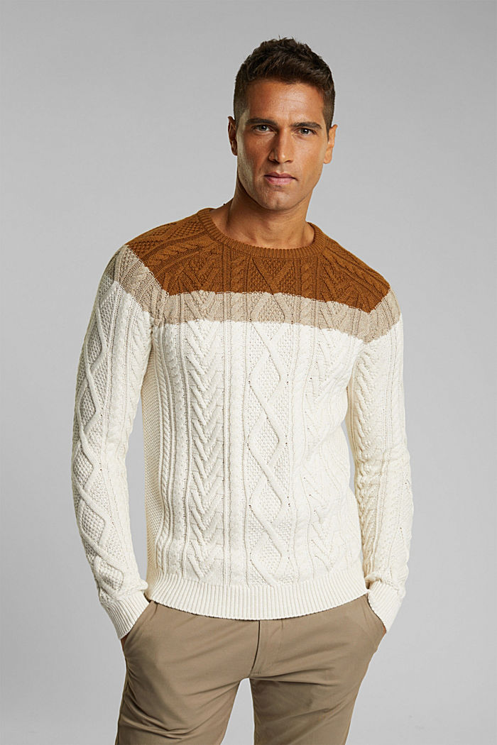 Wool/organic cotton: Cable knit jumper