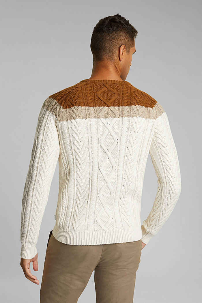 Wool/organic cotton: Cable knit jumper, OFF WHITE, detail image number 3