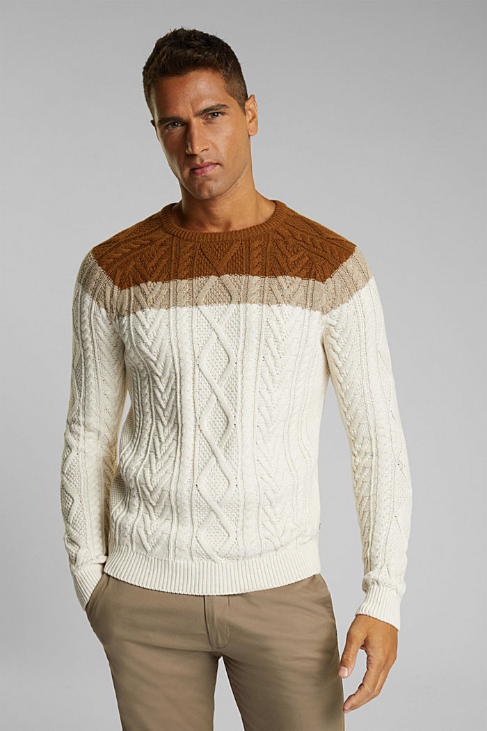 Wool/organic cotton: Cable knit jumper, OFF WHITE, detail image number 6