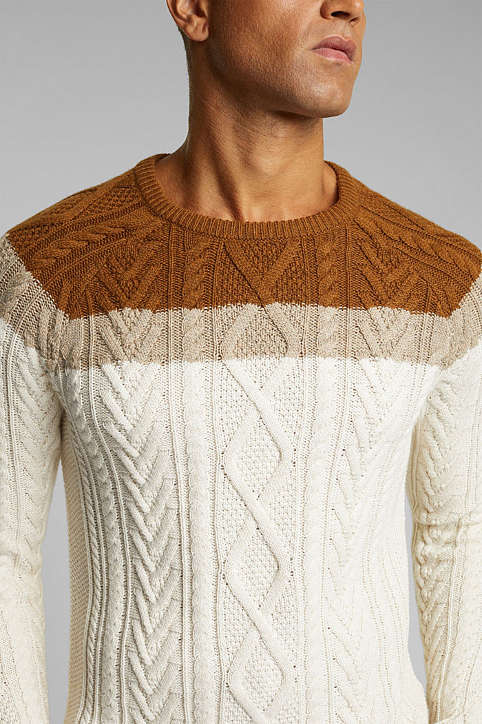 Wool/organic cotton: Cable knit jumper, OFF WHITE, detail image number 2