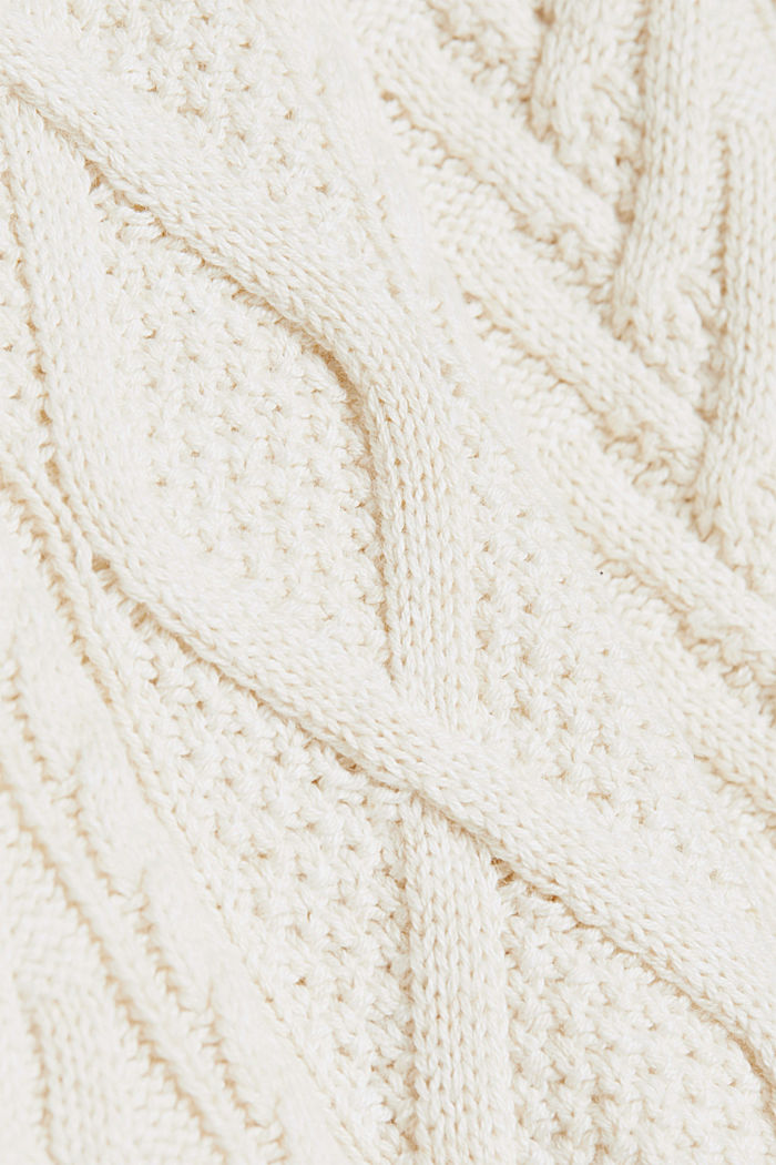 Wolle/Organic Cotton: Cableknit-Pullover, OFF WHITE, detail image number 4