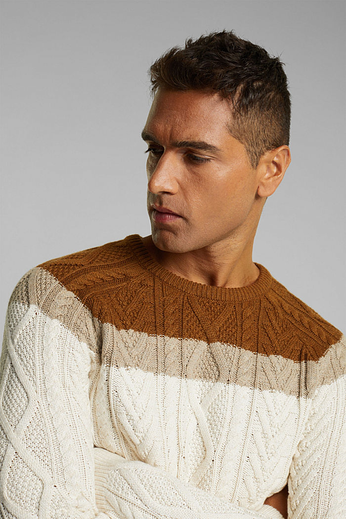 Wolle/Organic Cotton: Cableknit-Pullover, OFF WHITE, detail image number 5
