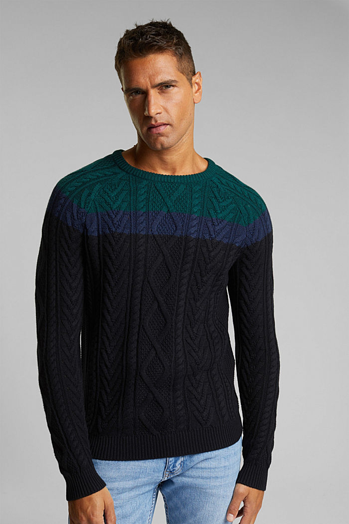 Wolle/Organic Cotton: Cableknit-Pullover, BOTTLE GREEN, detail image number 0