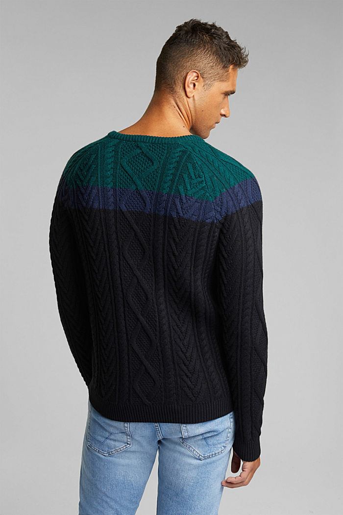 Wool/organic cotton: Cable knit jumper, BOTTLE GREEN, detail image number 3