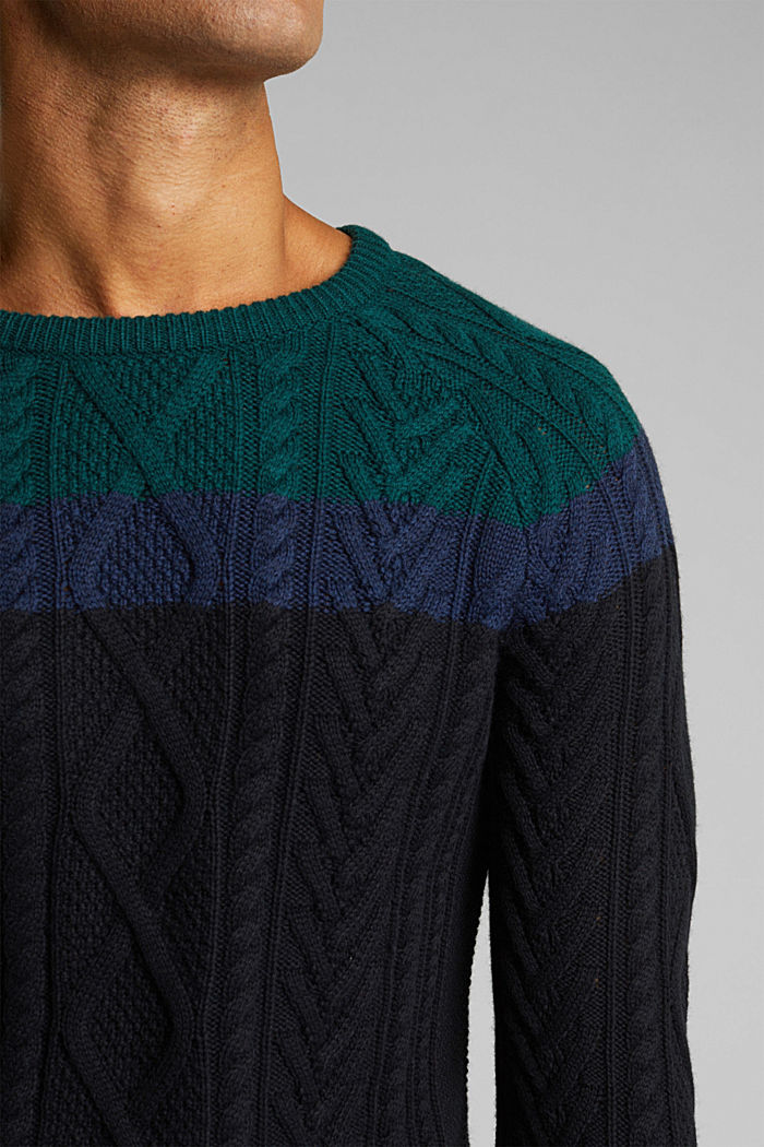 Wool/organic cotton: Cable knit jumper, BOTTLE GREEN, detail image number 2