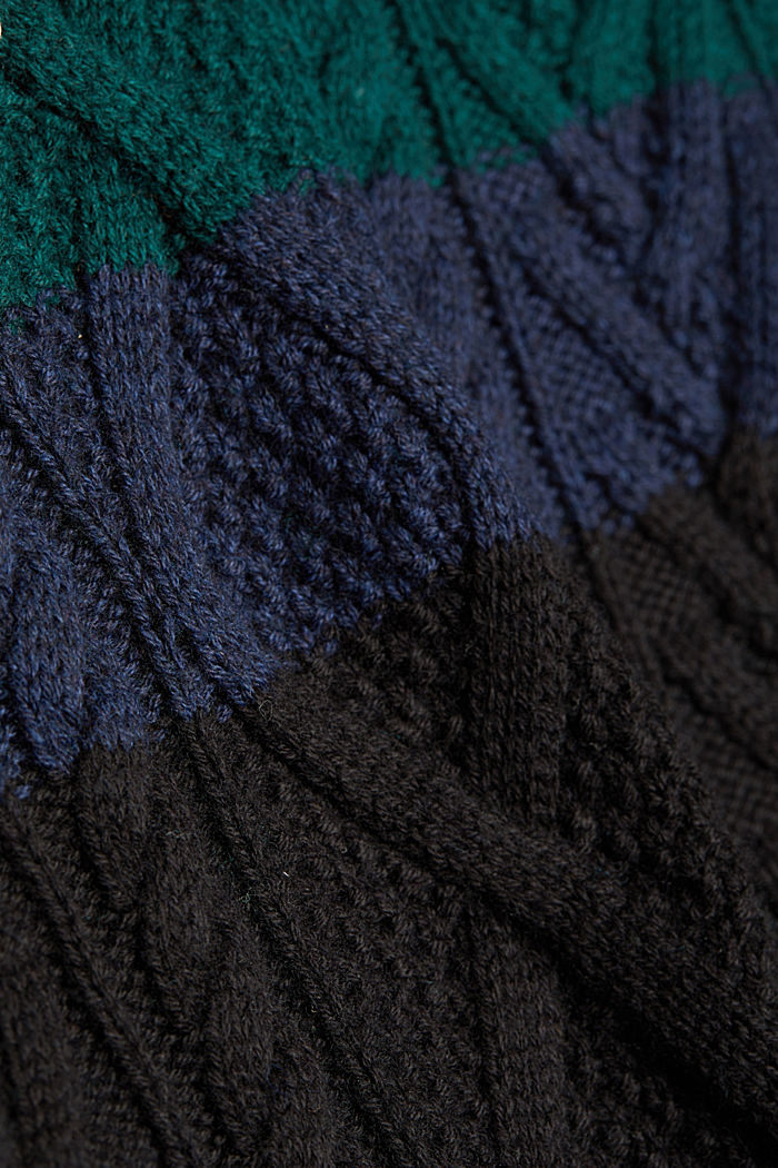 Wolle/Organic Cotton: Cableknit-Pullover, BOTTLE GREEN, detail image number 4