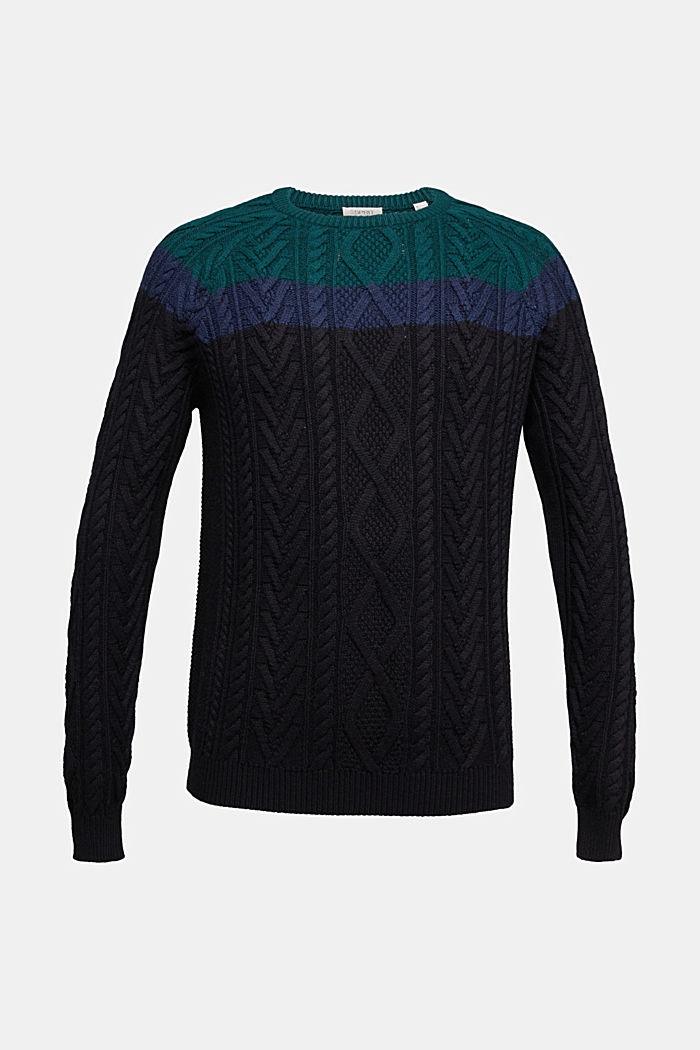 Wolle/Organic Cotton: Cableknit-Pullover, BOTTLE GREEN, overview
