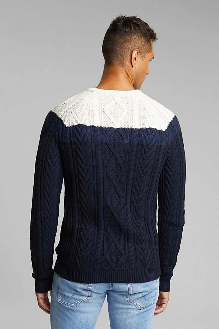 Wool/organic cotton: Cable knit jumper, INK, detail image number 3