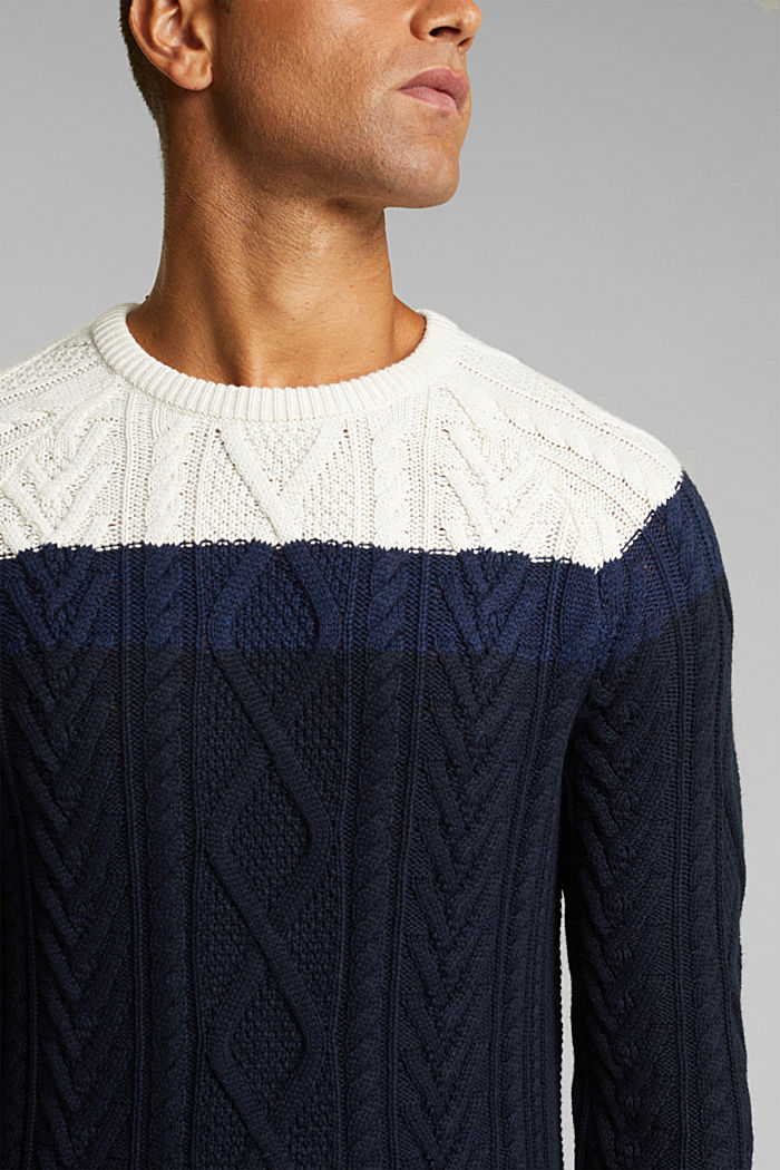 Wool/organic cotton: Cable knit jumper, INK, detail image number 2