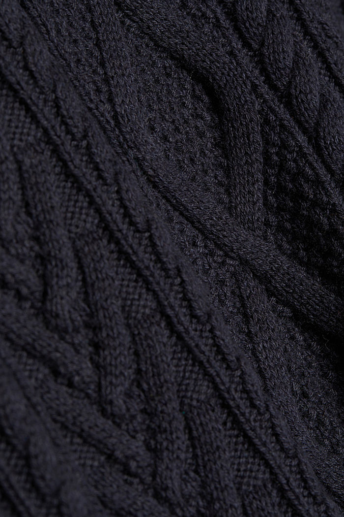 Wool/organic cotton: Cable knit jumper, INK, detail image number 4