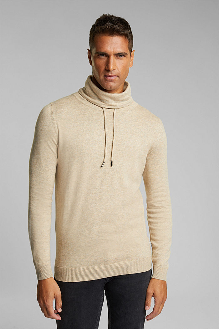 With cashmere: Jumper with a drawstring collar, LIGHT BEIGE, detail image number 0